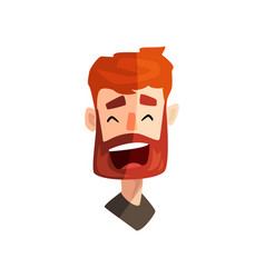 Laughing redhead bearded man male emotional face vector