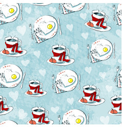 Love seamless pattern of teacups and heart cookies vector