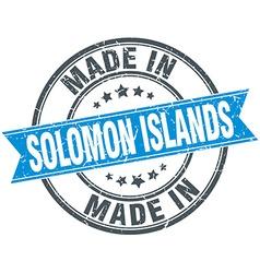 Made in Solomon Islands blue round vintage stamp vector