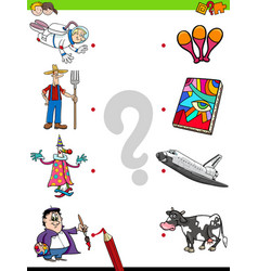 Match people characters and objects game vector