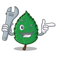 Mechanic mint leaves mascot cartoon vector
