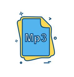 mp3 file type icon design vector image