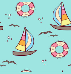 pattern with sailing ship and lifebuoy vector image