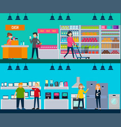 People in shop horizontal banners vector