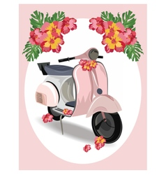 Pink Motor Scooter with flowers vector