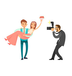 Professional photo session of newlywed groom bride vector