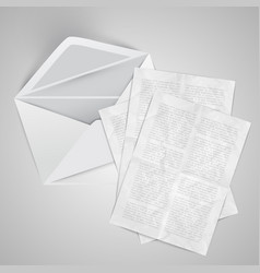 realistic envelope with papers vector image