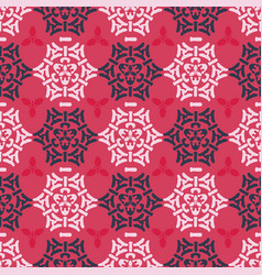 red pink and blue ornamental damask seamless vector image