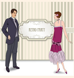 retro fashion party card background man woman in vector image