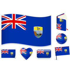 saint helena flag in seven shapes editable and vector image