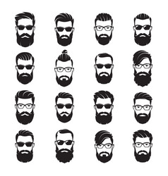 Set bearded men faces hipsters vector