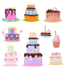 set of birthday cakes party elements isolated on vector image