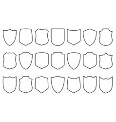 Shields set security shield linear icons vector
