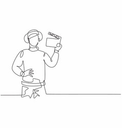 single one line drawing young smart male film vector image