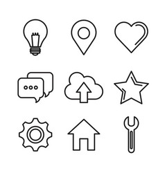 Social media network communication outline icons vector
