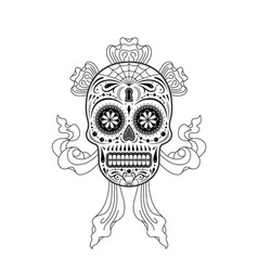 stencil decorative sugar skull pattern vector image