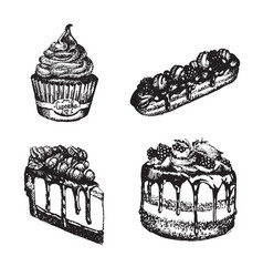Sweets made in hand drawn sketch style eclair vector