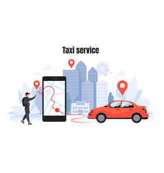 Taxi ordering car rent and sharing concept with vector