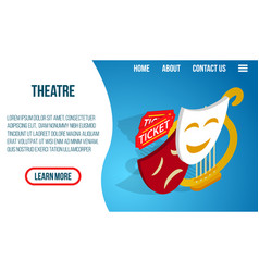 Theatre concept banner isometric style vector