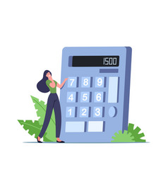 Tiny female character with huge calculator vector
