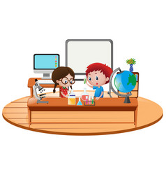 Two boy in science classroom vector