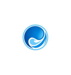 water wave round abstract logo vector image