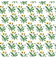 Watercolor dandelion herbs seamless pattern vector