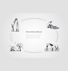 Wild animals rescue - people taking care vector