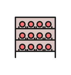 Wine cellar bottles on shelves cabinet vector