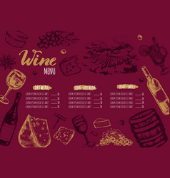 wine restaurant menu 1 vector image