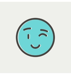 Winking emoticon thin line icon vector