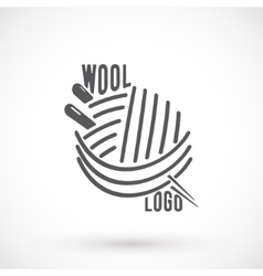 Wool and needle symbol vector