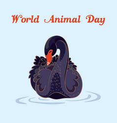 world animal day black swan concept background vector image