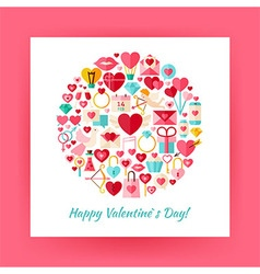Flat Style Circle Set of Happy Valentine Day vector image vector image