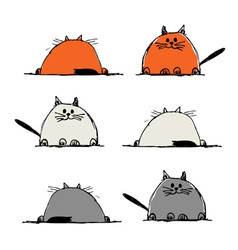 Funny cats sketch for your design vector