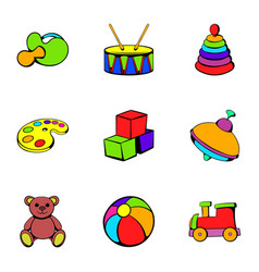 kindergarten icons set cartoon style vector image