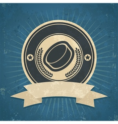 Retro Hockey Puck Emblem vector image