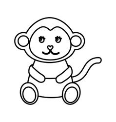 cute monkey animal isolated icon vector image vector image