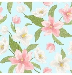 Sakura magnolia hellebore flowers seamless pattern vector image vector image