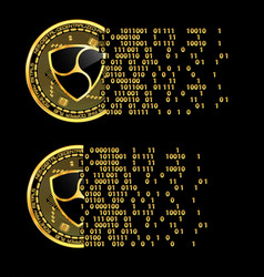 set of crypto currency nem golden symbols vector image
