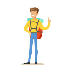 young man tourist standing with backpack colorful vector image