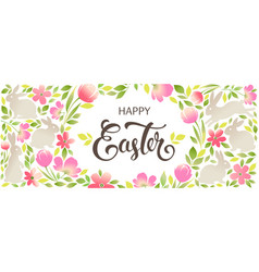 easter bunny with floral ornaments happy easter vector image vector image