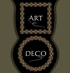 elegant gorgeous golden frames square and circle vector image