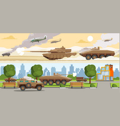 military equipment horizontal banners vector image