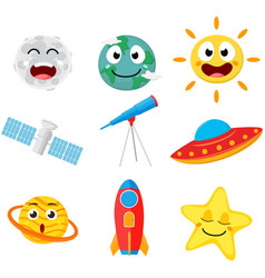 cute space cartoon collection set vector image