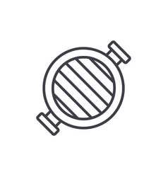round grill line icon sign vector image