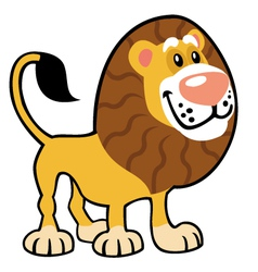 simple childish lion vector image vector image