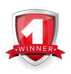 Winner shield with red ribbon vector image
