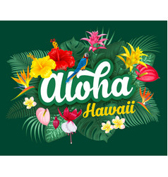 Aloha hawaii lettering and tropical plants vector