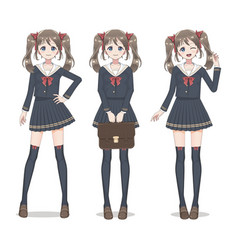 Anime manga schoolgirl in a skirt vector